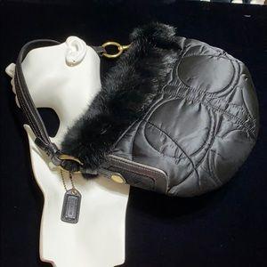 🖤Coach rabbit fur bag New